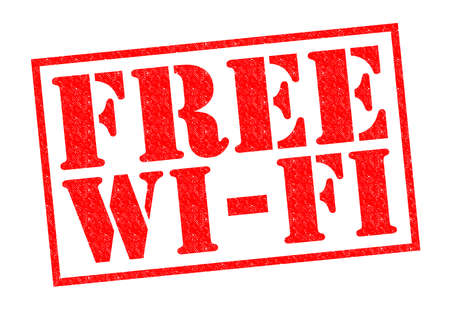 freebie: FREE WI-FI red Rubber Stamp over a white background.