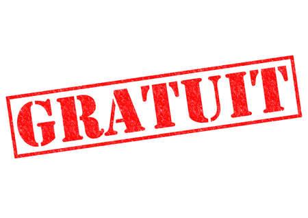 GRATUIT (GRATIS in de Franse taal) rode Rubber Stamp over een witte achtergrond. Stockfoto