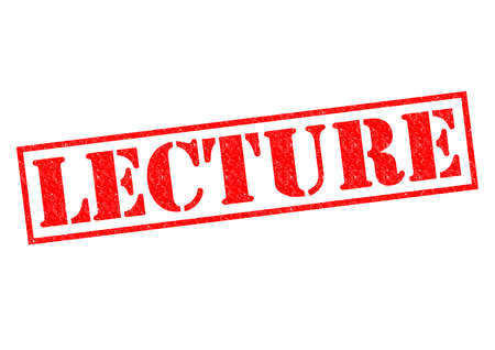lecturing: LECTURE red Rubber Stamp over a white background.