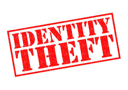 violation: IDENTITY THEFT red Rubber Stamp over a white background. Stock Photo
