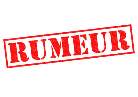 RUMEUR (RUMOR in the French language) red Rubber Stamp over a white background. photo