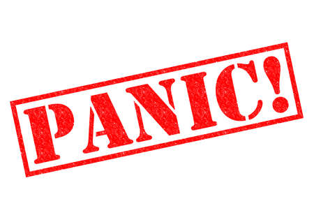 dismay: PANIC! red Rubber Stamp over a white background. Stock Photo