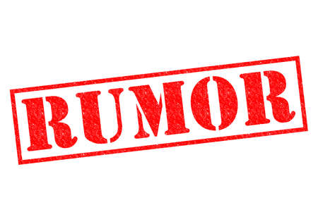hearsay: RUMOR red Rubber Stamp over a white background.