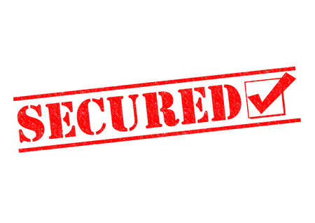 secured: SECURED red Rubber Stamp over a white background.