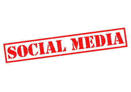 SOCIAL MEDIA red Rubber Stamp over a white background. photo