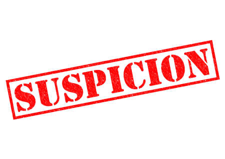 suspicion: SUSPICION red Rubber Stamp over a white background.