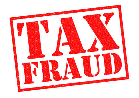levy: TAX FRAUD red Rubber Stamp over a white background.