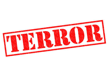 terror: TERROR red Rubber Stamp over a white background. Stock Photo