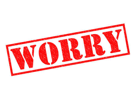worrying: WORRY red Rubber Stamp over a white background. Stock Photo