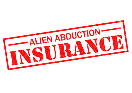 abduction: ALIEN ABDUCTION INSURANCE red Rubber Stamp over a white background.