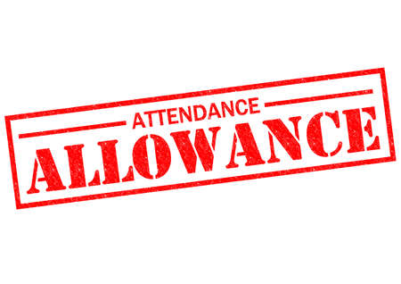 ATTENDANCE ALLOWANCE red Rubber Stamp over a white background. photo