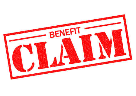 BENEFIT CLAIM red Rubber Stamp over a white background. photo