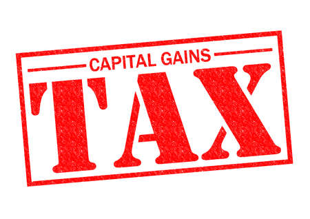 capital gains: CAPITAL GAINS TAX red Rubber Stamp over a white background.