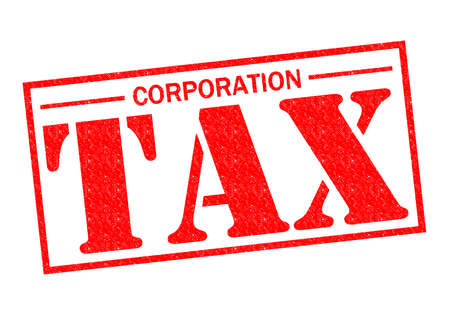 CORPORATION TAX red Rubber Stamp over a white background.