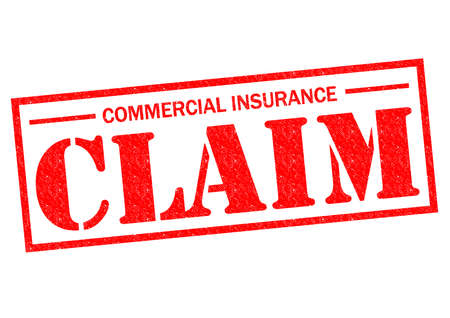 COMMERCIAL INSURANCE CLAIM red Rubber Stamp over a white background. Banco de Imagens