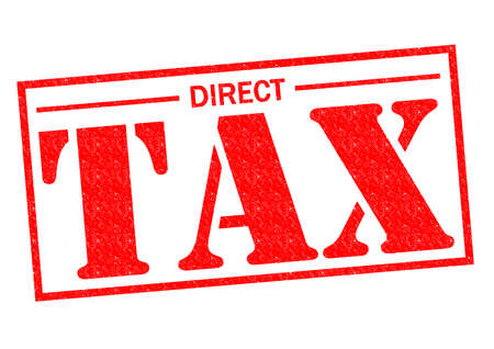 levy: DIRECT TAX red Rubber Stamp over a white background. Stock Photo