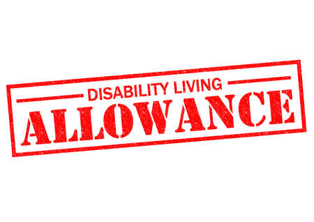nursing allowance: DISABILITY LIVING ALLOWANCE red Rubber Stamp over a white background.