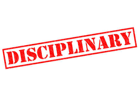 governing: DISCIPLINARY red Rubber Stamp over a white background. Stock Photo