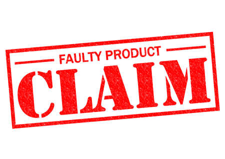 FAULTY PRODUCT CLAIM red Rubber Stamp over a white background.