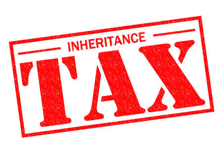 INHERITANCE TAX red Rubber Stamp over a white background.