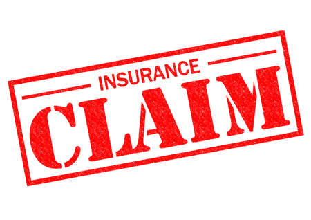 financial insurance: INSURANCE CLAIM red Rubber Stamp over a white background. Stock Photo