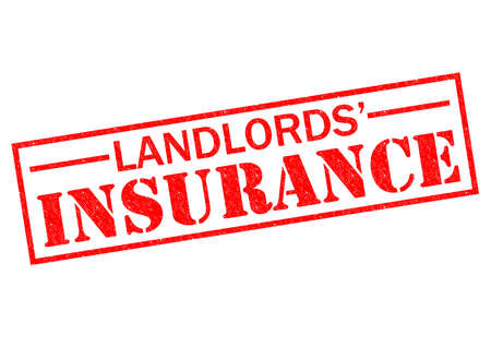 insurance claim: LANDLORDS INSURANCE red Rubber Stamp over a white background.
