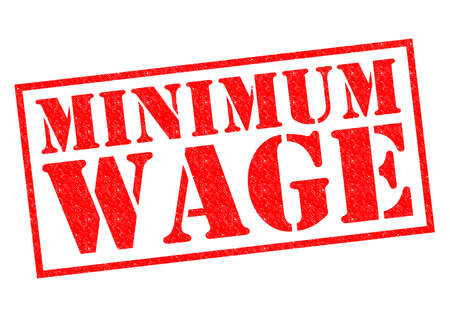 minimum wage: MINIMUM WAGE red Rubber Stamp over a white background.