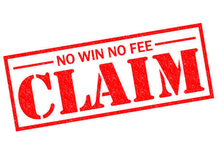 fee: NO WIN NO FEE CLAIM red Rubber Stamp over a white background.