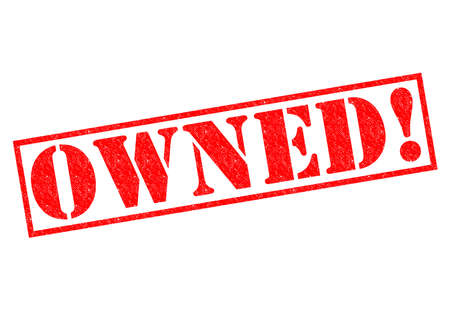 retained: OWNED! red Rubber Stamp over a white background.