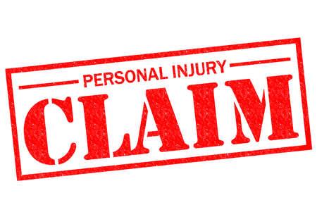 reclamo: Goma roja demanda por lesiones personales sello sobre un fondo blanco.