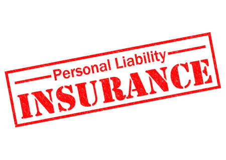 insurance claim: PERSONAL LIABILITY INSURANCE red Rubber Stamp over a white background.