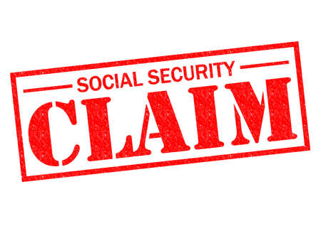 SOCIAL SECURITY CLAIM red Rubber Stamp over a white background. photo