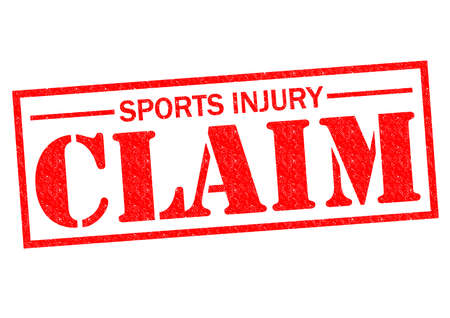 insure: SPORTS INJURY CLAIM red Rubber Stamp over a white background.