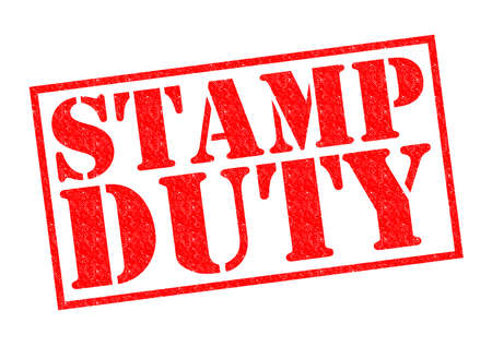 STAMP DUTY red Rubber Stamp over a white background. 스톡 콘텐츠