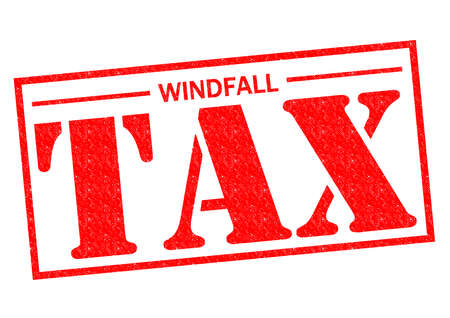 windfall: WINDFALL TAX red Rubber Stamp over a white background.