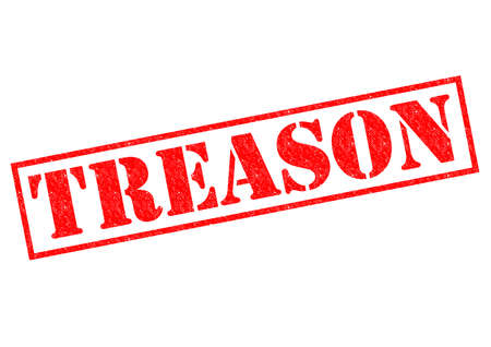 subversion: TREASON red Rubber Stamp over a white background. Stock Photo