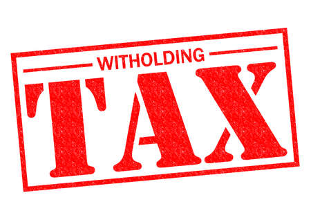 levy: WITHOLDING TAX red Rubber Stamp over a white background.