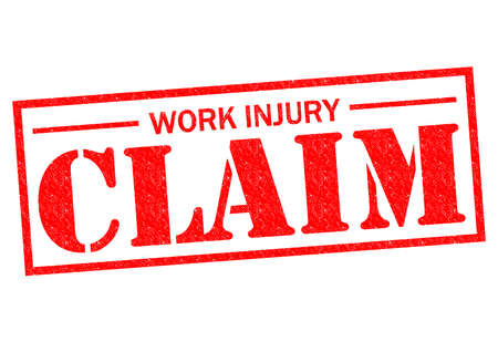 WORK INJURY CLAIM red Rubber Stamp over a white background. Stock Photo - 26538273