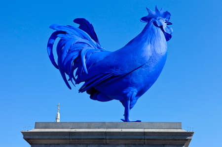 fibreglass: The Blue Cockerel on the fourth plinth in Trafalgar Square in London  Stock Photo