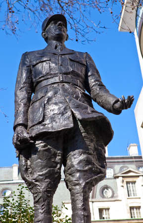 charles de gaulle: Statue of General Charles De Gaulle situated in Carlton Gardens in London  Editorial
