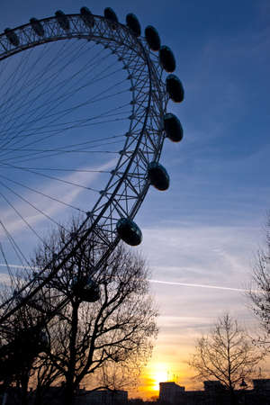A view of the London Eye at sunset