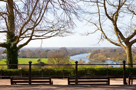 thames river: The beautiful view from Richmond Hill in Richmond Upon Thames, Greater London. Stock Photo