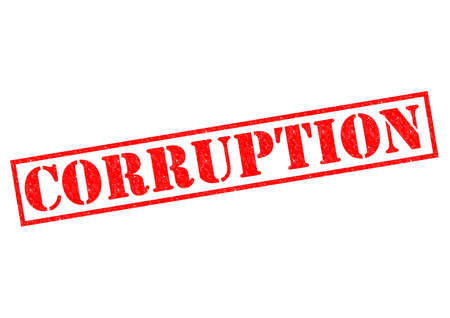 nepotism: CORRUPTION red Rubber Stamp over a white . Stock Photo