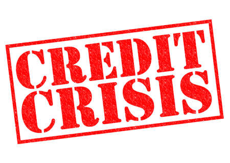 credit crisis: CREDIT CRISIS red Rubber stamp over a white .