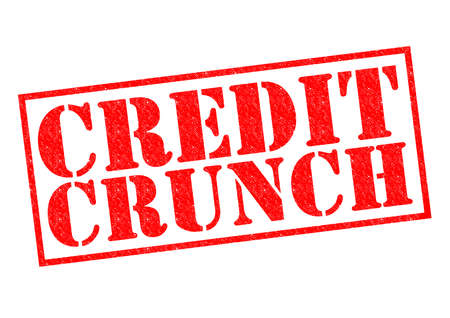 crunch: CREDIT CRUNCH red Rubber Stamp over a white .
