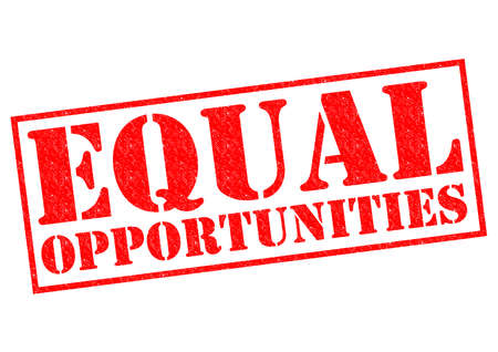 equal opportunity: EQUAL OPPORTUNITIES red Rubber Stamp over a white . Stock Photo