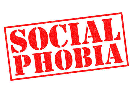 SOCIAL PHOBIA red Rubber Stamp over a white background. photo