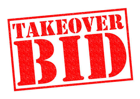 takeover: TAKEOVER BID red Rubber Stamp over a white background.