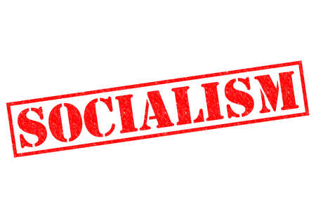 SOCIALISM red Rubber Stamp over a white background. photo