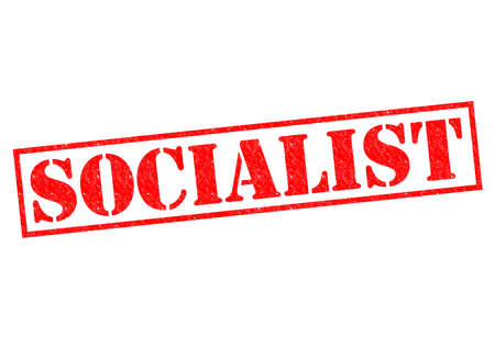 marxism: SOCIALIST red Rubber Stamp over a white background.
